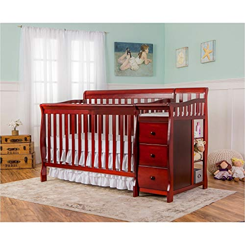 (Dream On Me 5 in 1 Brody Convertible Crib with Changer, Cherry)
