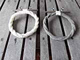 Rope Towel Rack Holder Ring on Stainless Steel Cleat Nautical or Beach Style