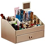 Wang's European creative leather desktop storage boxes for cosmetics Storage rack with mirror and drawer dresser-B