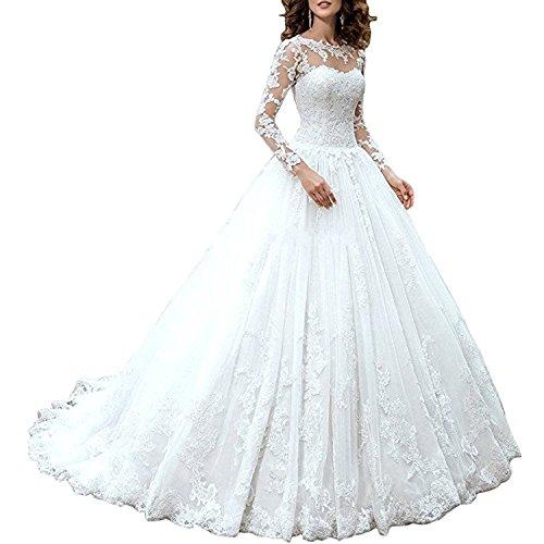 Alanre Appliques Lace a Line Long Sleeves Wedding Dress for Bride 2017