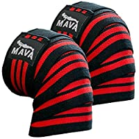 "Mava Sports Knee Wraps (Pair) for Cross Training WODs,Gym Workout,Weightlifting,Fitness & Powerlifting - Knee Straps for Squats - For Men & Women- 72""-Compression & Elastic Support"
