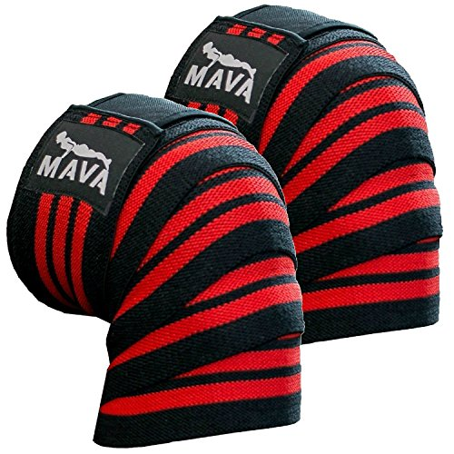 Mava Sports Knee Wraps (Pair) for Cross Training WODs,Gym Workout,Weightlifting,Fitness & Powerlifting – Knee Straps for Squats – For Men & Women- 72″-Compression & Elastic Support