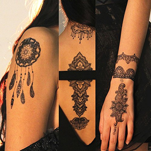 Details about 6 Sheets Black Henna Tattoo Body Art Mandala Lace Temporary  Tattoo Sticker G/2B