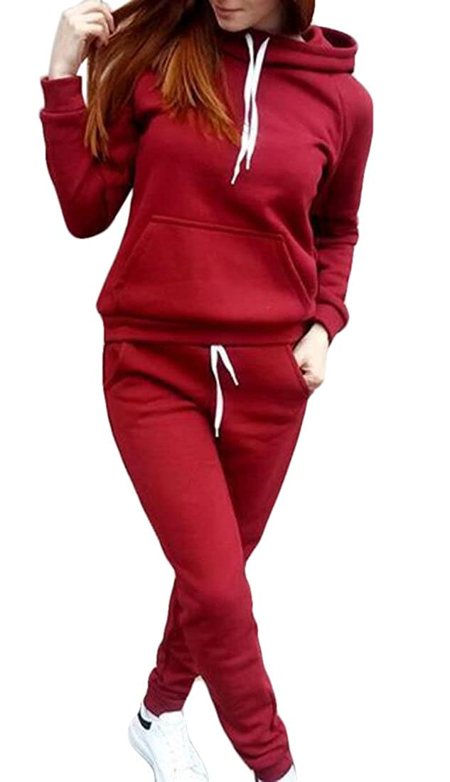 CRYYU Women Tracksuit Casual Hooded Sweatsuit & Pants Active 2 Piece Outfits Set
