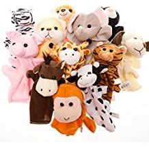 Fun Express Preschool Kindergarten Velour Animal Finger Puppets Kids Toy (1 Dozen)