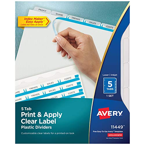 (Avery Print & Apply Clear Label Plastic Tab Dividers, Index Maker Easy Apply Strip, 5 Tab Divider Set (11449) )
