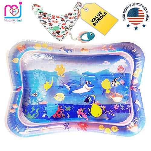 Baby Gift Set of 3 | Inflatable Water Mat, Ocean Bib & Fish Teether Custom-Designed in USA. Cute Bundle & Baby Shower Gift for Boy & Girl-Best Infant Tummy Time for Sensory & Dexterity Development.