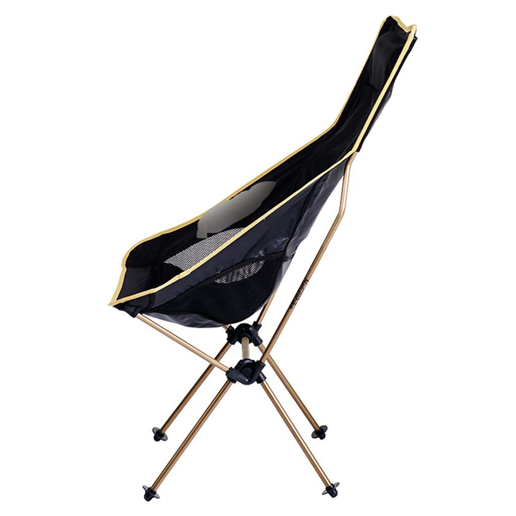YaNanHome Klappstuhl Outdoor tragbare Klappstuhl Camping Klappstuhl ultraleichte Freizeit Stuhl zurück Angeln Stuhl Größe (Farbe   Silber) Gold