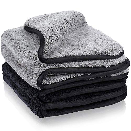 MATCC 1200GSM Microfiber Cleaning Cloths Lint Free Dual Layer Ultra-Thick Car Detailing Towel Super Absorbent Silk Edging Car Wash Waxing Polishing and Drying Towel 16'' x 16''(Pack of 2)