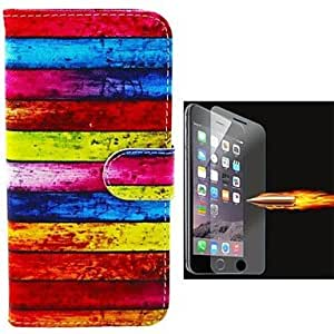 Fashionable Chromatic Stripe Design PU Leather Full Body Case with Explosion-Proof Glass Film for iPhone 6 Plus Back Case