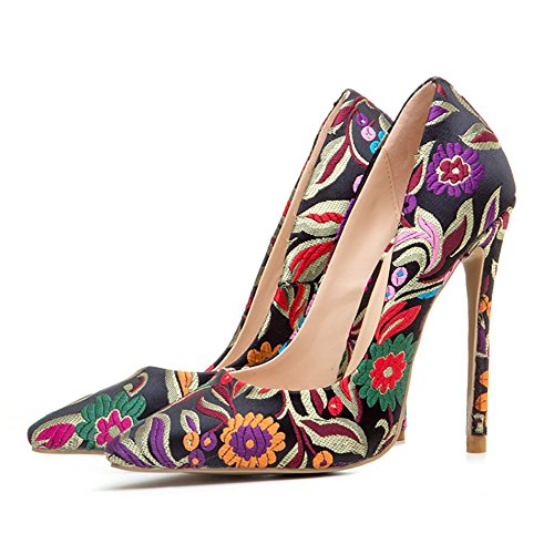 Themost Women Sexy Print Floral Large Size Closed Pointed Toe High Heels (Floral High Heel Pump)