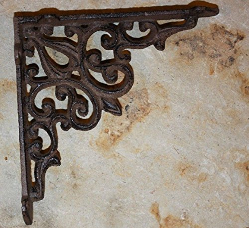 Country Bracket French - Set of 4 Old World French Country Shelf Brackets Corbels, Heavy Cast Iron, 5 5/8 inches, B-28