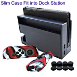 Hikfly 3in1 Ultra Slim Docked PC Cover Case for Nintendo Switch(Transparent Black) & Silicone Covers (Camo Red) for Joy-Con Controllers with 8pcs Thumb Grips Super Thin Fit into Dock
