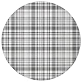 Round Rug Mat Carpet,Country,Pattern with Modified Stripes Crossed Horizontal and Vertical Lines Forming Squares Decorative,Grey White,Flannel Microfiber Non-slip Soft Absorbent,for Kitchen Floor Bath