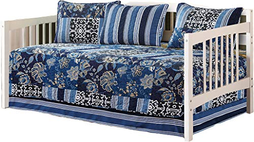 Floral Daybed - Mk Collection 5pc Day Bed Quilted Cover Set Floral Navy Blue White Green Blue Beige New