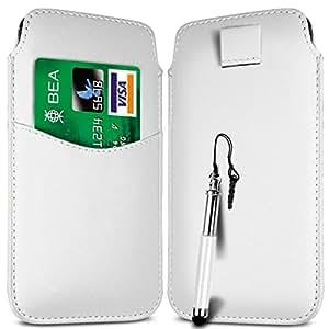 Direct-2-Your-Door - Samsung Galaxy Young Ranura 2 Tarjeta superior de la PU del tirón del cuero Tire Tab Case Bag & retráctil Stylus Pen - Blanco