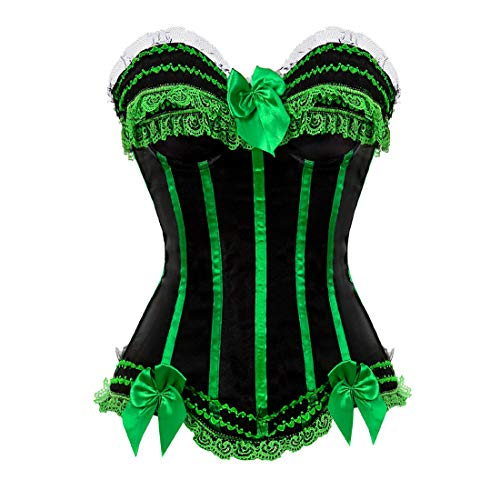 Zhitunemi Plus Size Corsets for Women Black Bustier Lingerie for Halloween Costume Dress Green X-Large ()