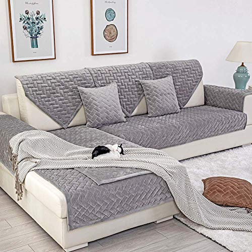 Deep Dream Sofa Slipcover, Velvet Sectional Sofa Covers Furniture Protector Anti-Slip Couch Covers for Dogs Cats Kids 36 x 47 Inch - Gray (Sold by Piece/Not All Set) (Sectionals Covers Sofa Slip For)