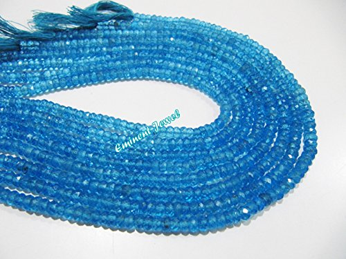 AAA-Quality Natural Swiss BlueTopaz Beads / Rondelle Faceted 4mm Size Beads/Sold Per Strand of 13 inch long/ Genuine blue Topaz Gemstone Bead