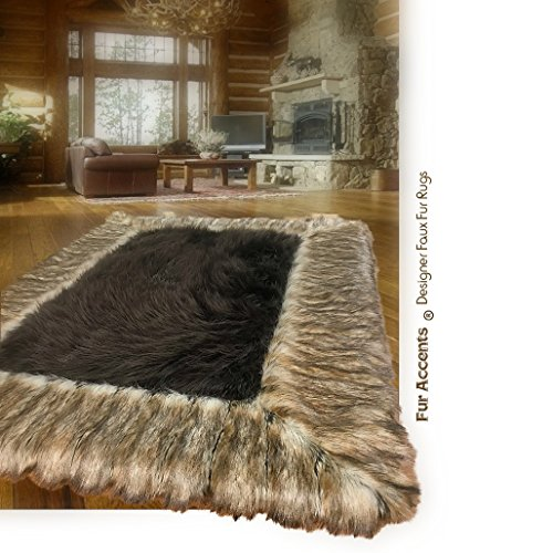 Large Faux Fur Shag Area Rug Brown With Ribbed Fox Border - Throw Rug - Thick - Plush - Rectangle - Ultra Suede - Non Slip Back - Premium Bonded Faux Fur - Fur Accents USA (4'x6')