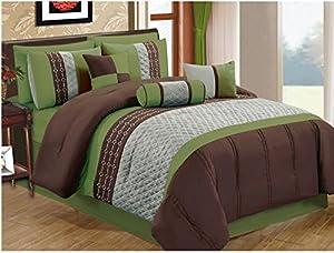 JBFF 7 Piece Oversized Luxury Microfiber Comforter Set, King, Green/Coffee