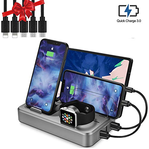 Sendowtek USB Charging Station Multi Devices 5-Port 50W Fast Charger Docking Station QC 3.0 Desktop Watch Stand Organizer 5 Mixed Cables for Android Phone,Tablet and Other Electronic Devices UL Listed (Best Non Phone Android Device)