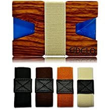 Slim Wood Front Pocket Mens Wallet Money & Card Holder - Minimalist & Small Wooden Wallets for Men with Bills Clip Band