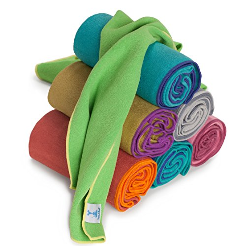YogaRat Yoga Towel: 100% Grippy Microfiber, Thin, Lightweight, Absorbent, Multiple Yoga Mat Sizes and Smaller Hand Size Towel Available