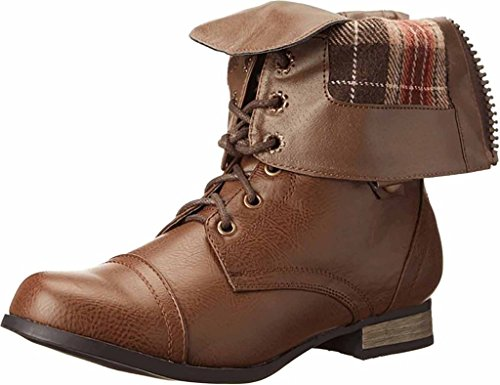 Charles Albert Women's Cablee Mid Calf Lace Up Combat Military Boot with Plaid Cuff