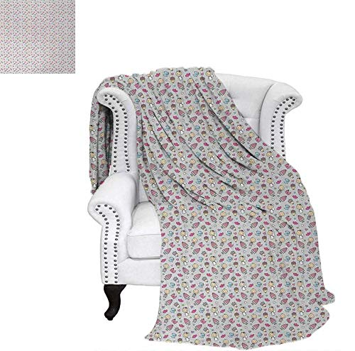(Super Soft Lightweight Blanket Wedding Themed Cartoon Style Pattern with Groom Bride Cake Bouquet Hearts and Birds Oversized Travel Throw Cover Blanket 70