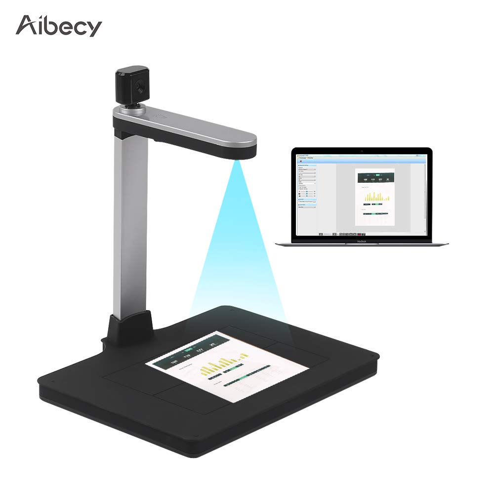 Aibecy HD Document Camera Scanner 10 Mege-Pixels with Dual-Camera AI Technology Fill-in Light Support PDF Export Video Recording Support A4 Size Scanning for Classroom Office Library Bank for Windows