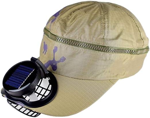 ANHPI-Hat Pesca De Verano Gorra De Béisbol De Golf con Ventilador Solar Sombrero Solar para Hombres Y Mujeres Malla Transpirable Doble Carga Tamaño Ajustable Al Aire Libre, 4 Colores,Beige: Amazon.es: Jardín