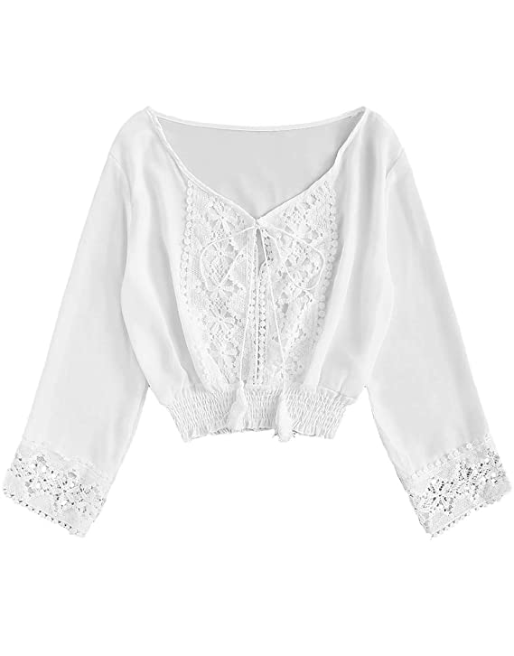 Victorian Blouses, Tops, Shirts, Sweaters MAKEMECHIC Womens Elegant Contrast Lace Pleated Hem Tie Front V Neck Crop Blouse Top $16.99 AT vintagedancer.com