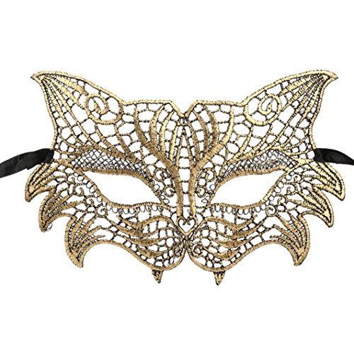 YJYdada Masquerade Lace Mask Catwoman Halloween Cutout Prom Party Mask accessories (Gold) -