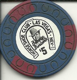 $5 horseshoe old blue vintage obsolete las vegas casino chip ()