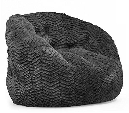 Cocoon Chevron Faux Fur Bean Bag Chair, Black