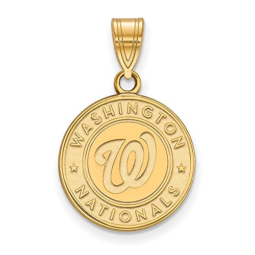 Q Gold MLB Washington Nationals 10ky MLB LogoArt Washington Nationals Medium Pendant Size One ()