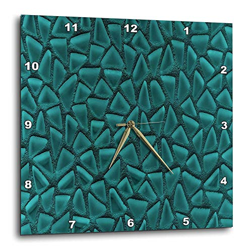 Teal Triangle Glass Mosaic Dimensional Design Wall Clock