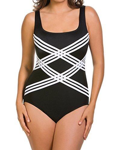 Longitude Womens Swimwear - Longitude Colorblock Sccoopneck Overlay One Piece Swimsuit Black (10)