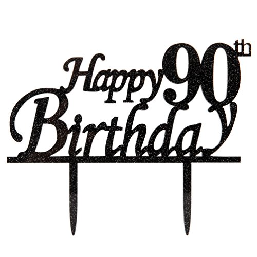 Happy 90th Birthday Cake Topper 90 Black Glitter Party Decorations