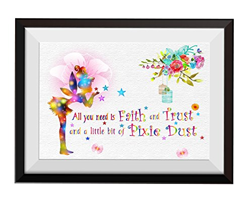 Uhomate Fairy All You Need is Faith and Trust Quote Home Canvas Prints Wall Art Anniversary Gifts Baby Gift Inspirational Quotes Wall Decor Living Room Bedroom Bathroom Artwork C003 (8X10)
