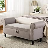 Yongchuang Storage Ottoman Bench Bedroom Bench Bed Footboard Foottool Entryway Hallway Bench Ottomans for Living Room Bedroom (53010-Grey) For Sale