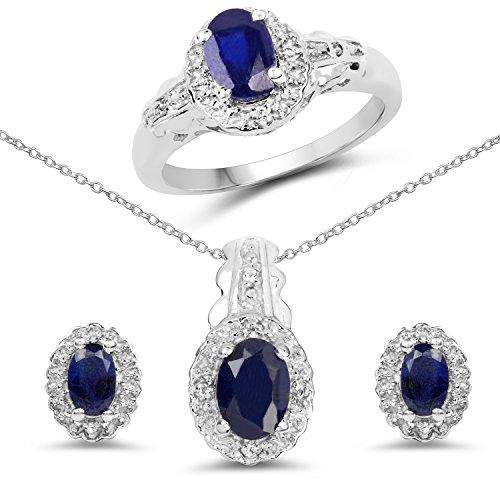 3.30 Carat Genuine Blue Sapphire & White Topaz .925 Sterling Silver Ring, Earrings & Pendant Set