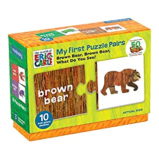Mudpuppy The World of Eric Carle Brown Bear, Brown Bear What Do You See? My First Puzzle Pairs – Great for Kids Age 2+ - 10 Sturdy 2-Piece Puzzles – Teaches Problem-Solving, Colors, Fine Motor Skills