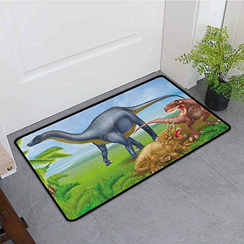 ONECUTE Indoor Doormat,Dinosaur Different Types of Dinosaurs Natural Jungle Environment T Rex Triceratops Cartoon,Machine-Washable/Non-Slip,35
