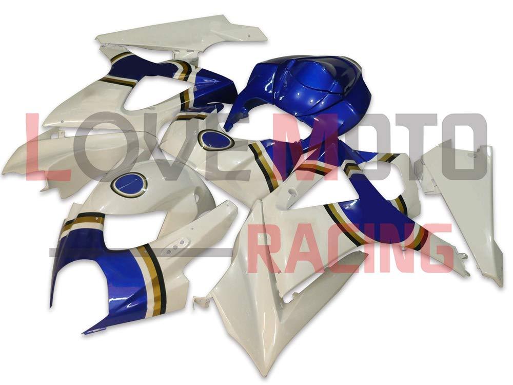 LoveMoto ブルー/イエローフェアリング スズキ suzuki GSXR1000 GSXR 1000 2007 2008 K7 07 08 GSX R1000 K7 ABS射出成型プラスチックオートバイフェアリングセットのキット ホワイト ブルー   B07KG396MV