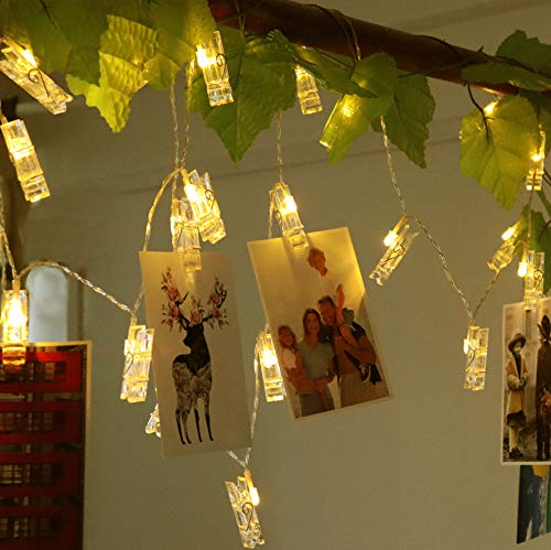 SuperDecor 40 LED Photo Clips String Lights Battery Operated, Fairy Lights for Hanging Photos Pictures Cards Memos, Warm White Decoration Lights for Halloween Christmas Bedroom Wedding