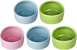 Balacoo 5pcs Pet Hamster Feeding Bowls Ceramic Small Animal Dishes Food and Water Bowl for Mouse Guinea Pig Hedgehog (Random Color)