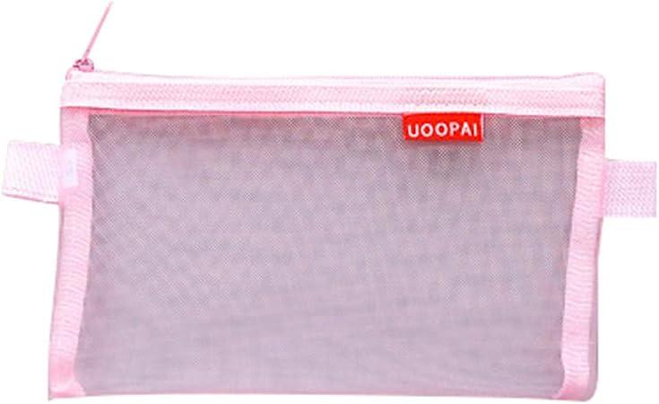 Cupcinu Estuches de lápices Estuche Transparente para bolígrafos Estuche Escolar Estudiantes Papelería Suministros cosméticos Accesorios de Viaje Nylon (Rosado): Amazon.es: Hogar