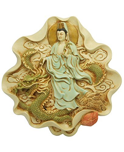 Kuan Yin and Dragon Wall Plaque, 8 Inches